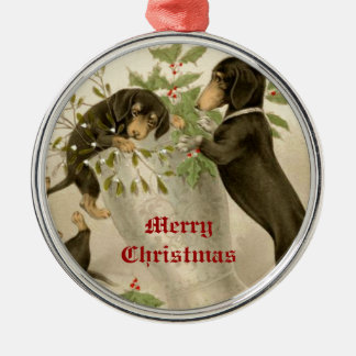 Dogs playing with Christmas mistletoe & holy berry Christmas Ornament