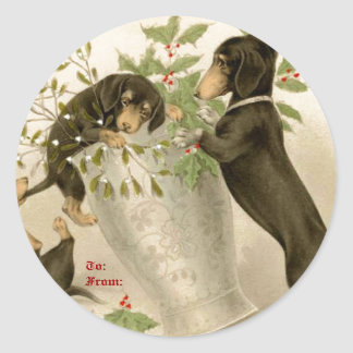 Dogs playing with Christmas mistletoe & holy berry Classic Round Sticker