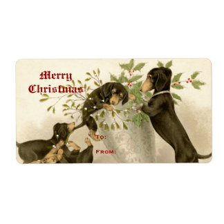 Dogs playing with Christmas mistletoe & holy berry Shipping Label