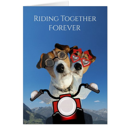Dogs Ride on a Motorcycle for Wedding Announcement