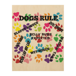 Dogs Rule Colorful Paw Prints Wood Canvases