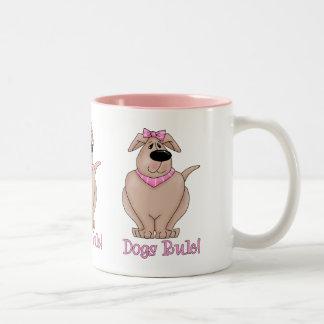 Dogs Rule Dog with PInk Bandana Tees and Gifts Two-Tone Coffee Mug