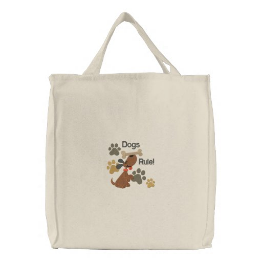 Dogs Rule! Embroidered Tote Bag