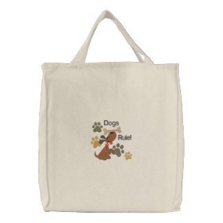 Dogs Rule Embroidered Tote Bag