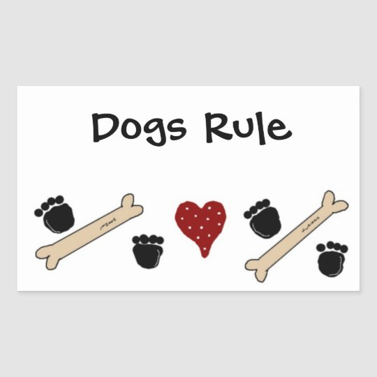 Dogs Rule - Paw Prints and Bones Rectangular