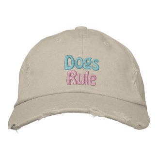 Dogs Rule, Save a Life, Adopt Rescue Shelter Dog Embroidered Hat