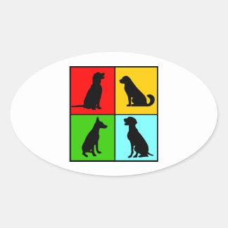 Dogs styles oval sticker