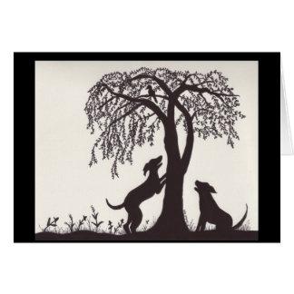DOgs Tree a Bird Greeting Card