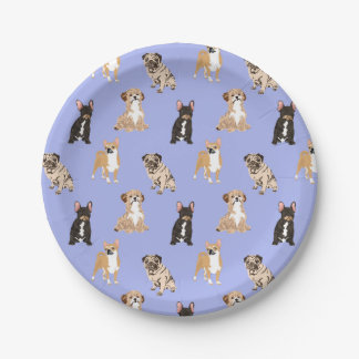 Dogs Vector Seamless Pattern Paper Plate
