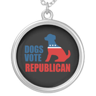 DOGS VOTE REPUBLICAN ROUND PENDANT NECKLACE