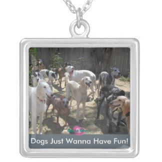 Dogs Wanna Have Fun!Necklace Silver Plated Necklace