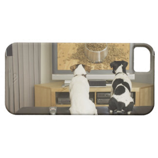 Dogs watching dog dish with food on TV Barely There iPhone 5 Case