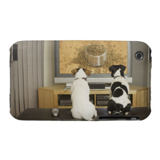 Dogs watching dog dish with food on TV iPhone 3 Case-Mate Cases