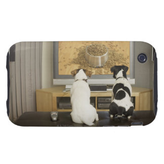 Dogs watching dog dish with food on TV Tough iPhone 3 Cover