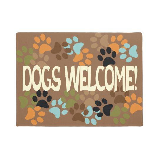 Dogs Welcome with Pawprint Design Doormat