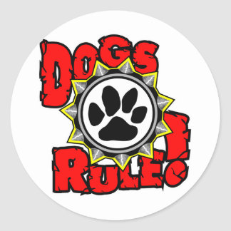 DogsRule_Logo_Color Classic Round Sticker