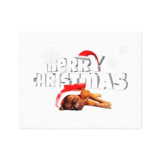 Dogue de Bordeaux dog Santa Hat Merry Christmas Gallery Wrap Canvas