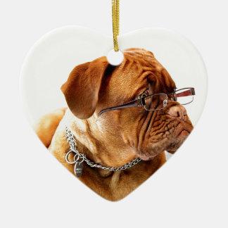 dogue de bordeaux dog wearing glasses ceramic heart decoration