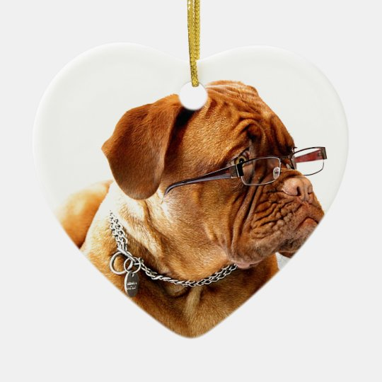 dogue de bordeaux dog wearing glasses christmas ornament