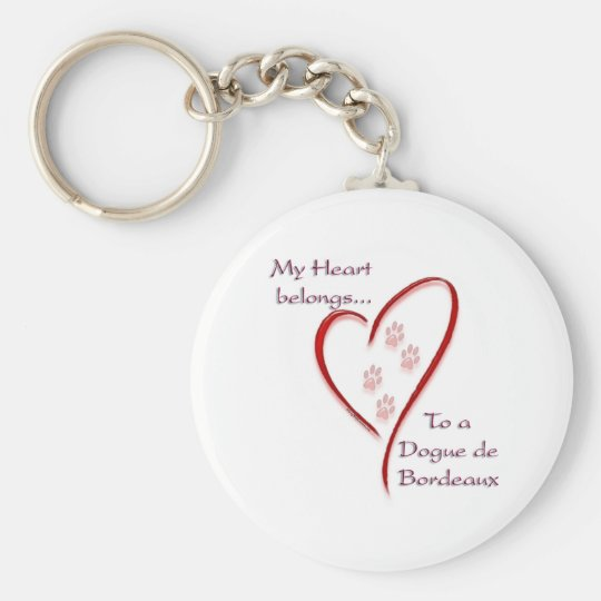 Dogue de Bordeaux Heart Belongs Basic Round Button Key Ring