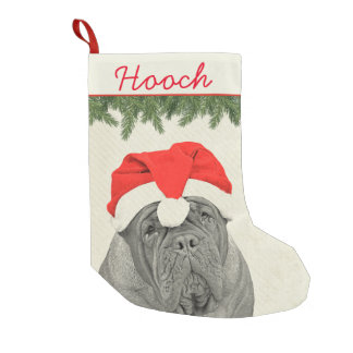 Dogue de Bordeaux Vintage Style Small Christmas Stocking