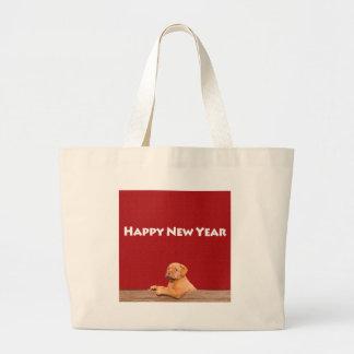 Dogue de Bordeaux wishing Happy New Year Jumbo Tote Bag