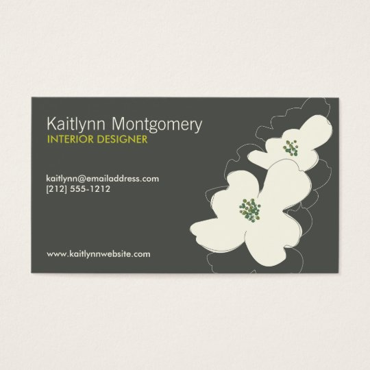 DOGWOOD BLOSSOMS IVORY/GRAY BUSINESS CARD