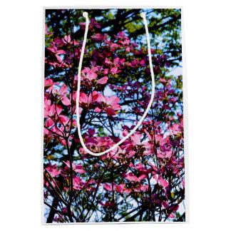 Dogwood flowering pink spring tree medium gift bag