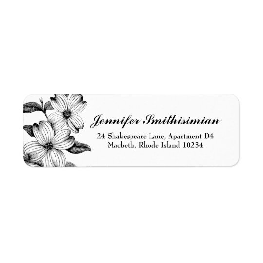 Dogwood Flowers Return Address Label in B&W