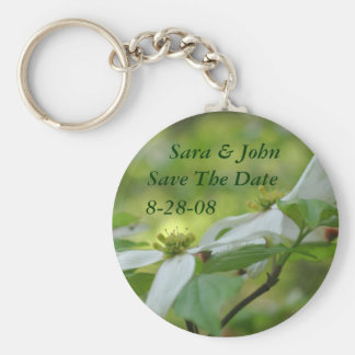 Dogwood Flowers Save The Date Wedding Keychain