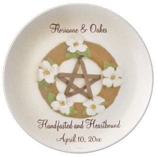 Dogwood Pentacle Handfasting Porcelain Plates