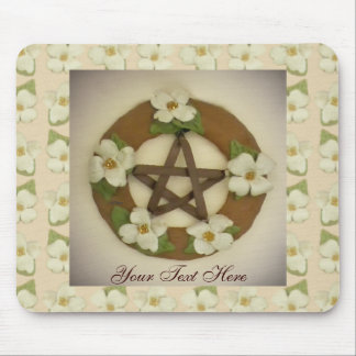 Dogwood Pentacle Wreath Floral Pattern Mouse Pad