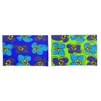 Dogwood Retro Reversible Pillow Cover Blue Green
