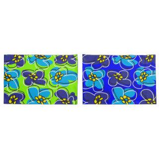 Dogwood Retro Reversible Pillow Cover Blue Green/W