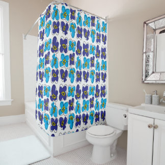 Dogwood Retro Shower Curtain in Blue/White