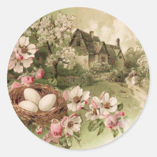 Dogwood Tree Bird Nest Egg Cottage Sticker