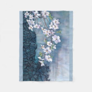 Dogwood watercolor fleece blanket