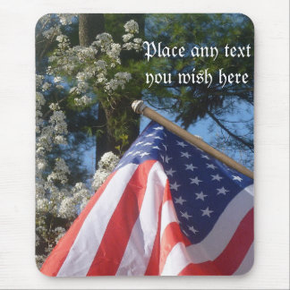 Dogwoods and american flag  mouse pad
