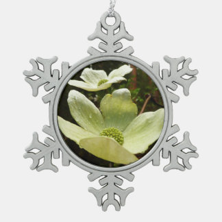 Dogwoods and Redwoods in Yosemite National Park Pewter Snowflake Decoration