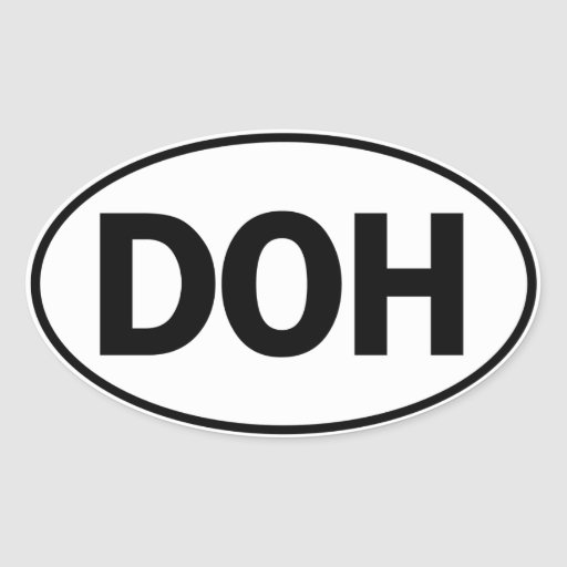 DOH Oval Identity Sign Stickers