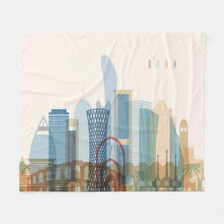 Doha, Qatar   City Skyline Fleece Blanket