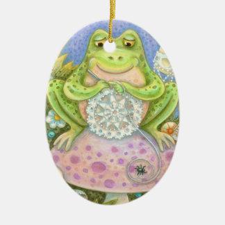 Doilies Make A Hoppy Home OVAL ORNAMENT Frog