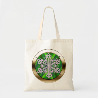 Doily in a Porthole Shopping Bag - Green Satin