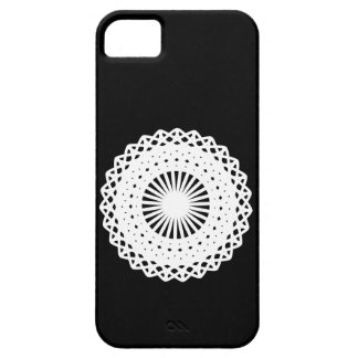 Doily. White lace circle design. On Black. Barely There iPhone 5 Case