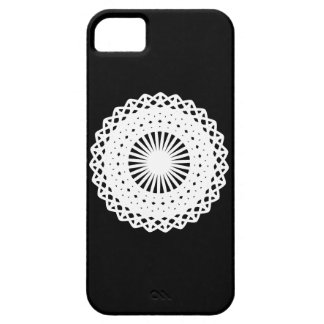 Doily. White lace circle design. On Black. iPhone 5 Cases