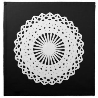 Doily. White lace circle design. On Black. Napkin