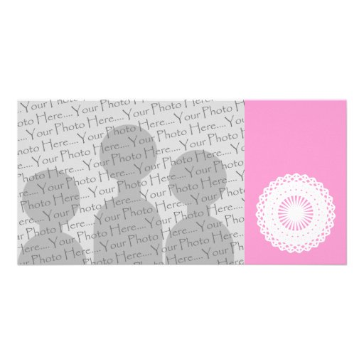 Doily. White lace circle image. Picture Card