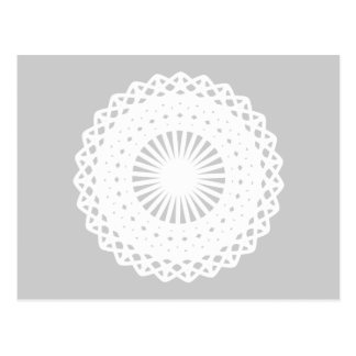 Doily. White lace circle image. Postcard