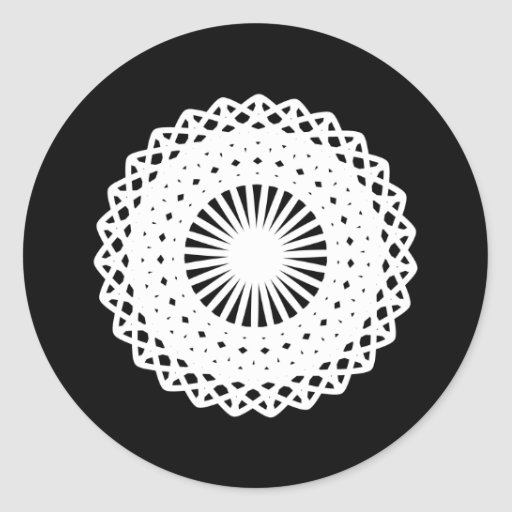 Doily. White lace circle image. Stickers