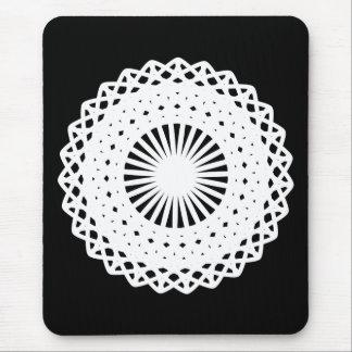 Doily. White lace circle. On Black. Mouse Pad